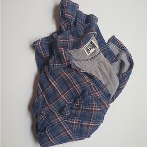 Red and blue converse flannel